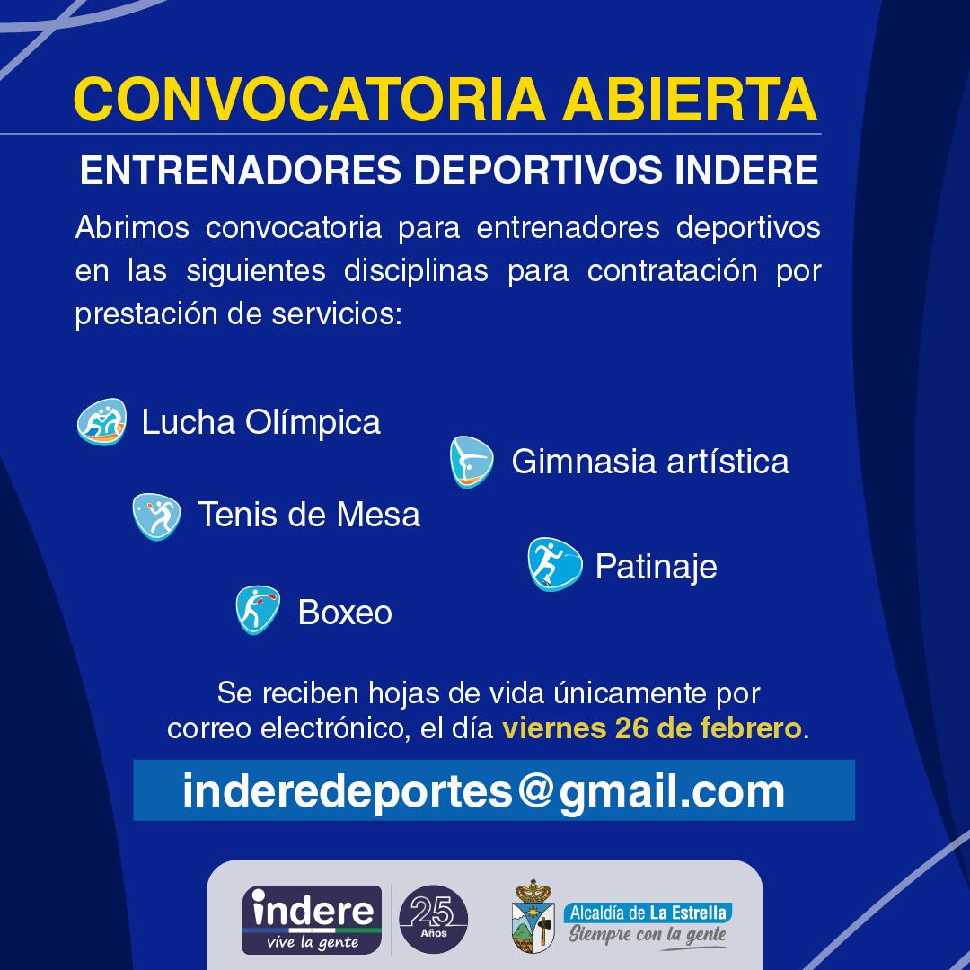 Convocatoria Abierta Entrenadores Deportivos